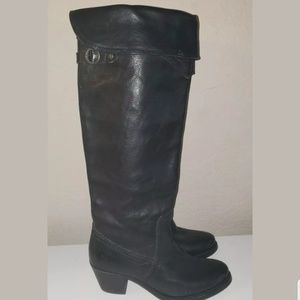Frye Jane Tall Cuff Black Leather Motorcycle Boots